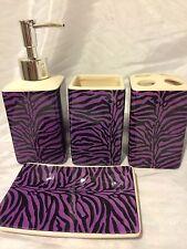 4 Pcs Bathroom Ceramic Set Accessory Set Purple Zebra Bath Vanity Dispenser New