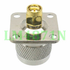 1pce Adapter N male to SMA male 25.4mm flange panel mount connector straight M/M