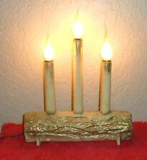 VINTAGE CHRISTMAS XMAS HOLIDAY CANLEABRA CANDLE YULE LOG DECORATION LIGHTS