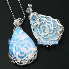 Opalite Gemstone Flower Bead Teardrop  Inlaid Pendant Fit Necklace Jewerly NEW