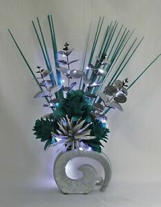 HANDMADE ARTIFICIAL SILK TEAL & SILVER FLOWERS LED LIGHTS IN SILVER GLITTER VASE