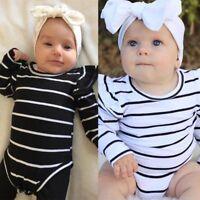 Newborn Baby Girls Striped Long Sleeve Romper Jumpsuit Bodysuit Clothes 0-18M