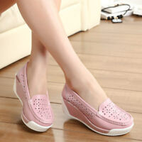 Women's Casual Leather Shoes Thick Platform Hollow Breathable Walking Sneakers