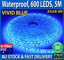 5 metre blue strip light Waterproof 600 LED 12V 5M 3528 SMD Flexible Bright Car
