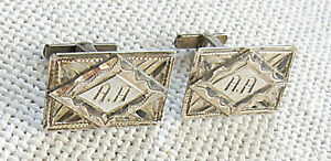 Vintage silver sterling engraved cufflinks with monogram: A.A