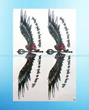 """queen wings bow 8.25""""extra large temporary arm tattoo lower back hand chest"""