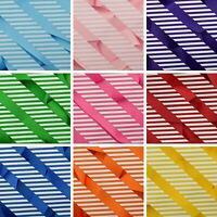 Stripes On Plain Coloured Grosgrain Ribbon Hair Bow Arts & Crafts 10mm 25mm 38mm