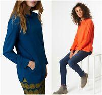 Women Ladies White Stuff Foraging Blue Foxy Orange Tulip Tunic Long Sleeve Top