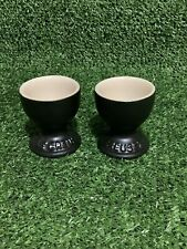 Le Creuset Egg Cup Set of 2 - Black Stoneware - New Unboxed