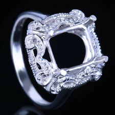 10K White Gold 9X8mm Cushion Setting Semi Mount Women's Engagement Wedding Ring
