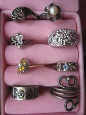 Lot of 8 Women's Custom Fashion Rings Includes 1 Sterling Silver 925 Ring Size 6
