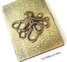 Steampunk Cigarette Case Big Brass Octopus Sea Monster Oversized Card Case