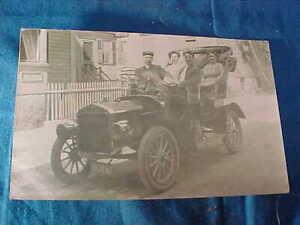 1909 BRASS Era TOURING CAR AUTOMOBILE Real Photo POSTCARD