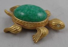 AVON TURTLE PERFUME COMPACT BRUSHED GOLD TONE WITH LARGE GREEN CABOCHON CENTER