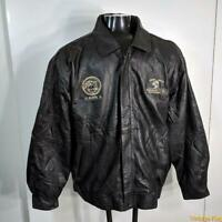 LUNA PIER Soft Leather JACKET Mens Size 2XL XXL Black zippered insulated