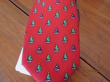 New men Necktie Tie CHAPS Stretch Xmas Tree RED Sailboat Nautical Sail Boat