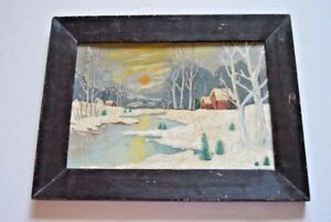 Original, primitive folk art oil painting of Winter Scene, signed by Culler