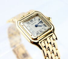18K CARTIER PANTHERE SQUARE WATCH LADIES ROMAN NUMERAL SAPPHIRE W/BOX NR #3092