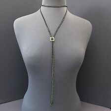 Unique Wrap Around Black Suede Choker Small Gold Metal Buckle Pendant Necklace