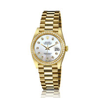 Rolex 31mm Presidential 18kt Gold White MOP Mother Of Pearl Dial with Diamond Ac