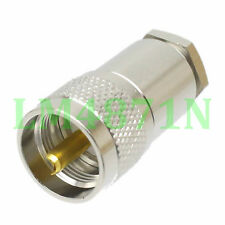 1pce Connector UHF male PL259 clamp RG8 RG213 RG165 LMR400 7D-FB cable straight