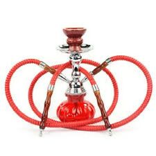 2 Hose Hookah Glass Water Pipe Vase Tobacco Nargile Smoking Bong Set RED BLACK