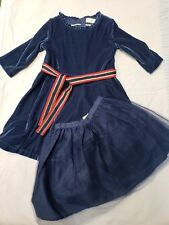009d77fce727 Mini Boden velvet blue holiday dress with separate tulle underskirt 4-5y  NWOT