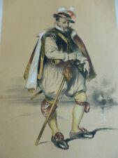 LITHOGRAPHIE FRAGONARD 1840 / L'AVENTURIER XVIe