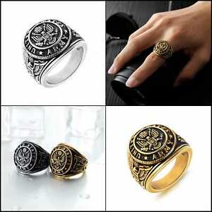 Men's Stainless Steel Domineering United States Army Military Ring Gold Silver..