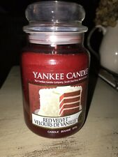 """Yankee Candle """"Red Velvet"""" 22oz Jar Rare and Hard to Find White Deerfield Label"""