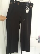 Gorgeous Chocolate Brown M&Co Trouser Lovely Shell Glass Bead Belt BNWT 16 Petit
