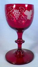 Bohemian Art Glass Wine Goblet Ruby Grape Etched Cut To Clear Vintage Czech