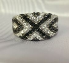 Wow! French Hallmarked 18K White Gold Black White Diamond Wide Patterned Ring 7