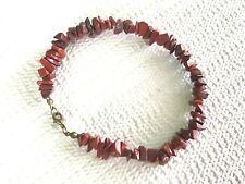 """Jasper Stone Chips Anklet 10"""" Long Handmade Bead Ankle Bracelet of Natural Red"""