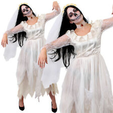 LADIES ZOMBIE GHOST BRIDE CORPSE WHITE FANCY DRESS HALLOWEEN WEDDING GOTHIC