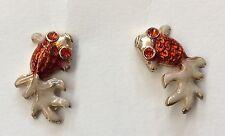 Super Cute!!! BETSEY JOHNSON Goldtone Bright Orange Enamel Koi Fish Earrings