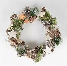 SASS & BELLE WHITE CHRISTMAS ICY & GREEN WREATH DOOR WALL HANGING RUSTIC HOME