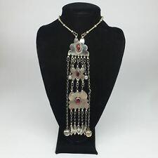 """89.6g, 22"""" Turkmen Necklace Pendant Long Necktie Vintage Antique Statement,TN427"""