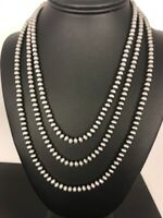 """Native American Navajo Pearls 4 mm St Silver Bead Necklace 60"""" Sale Gift S422"""