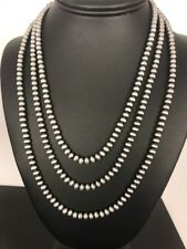 "Native American Navajo Pearls 4 mm St Silver Bead Necklace 60"" Sale Gift S422"