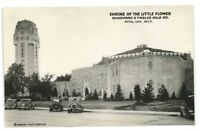 RPPC Shrine of the Little Flower Old Cars ROYAL OAK MI Real Photo Postcard