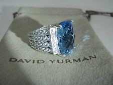 AUTHENTIC DAVID YURMAN S.SILVER  16X12  BLUE TOPAZ DIAMOND WHEATON RING SIZE 6