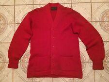 Vtg 40s Wool Standard Letterman Sweater Varsity Red Cardigan V neck Mens