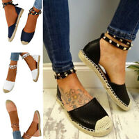 Womens Flat Ankle Strap Rivet Stud Espadrilles Sandals Slippers Shoes Beach Size