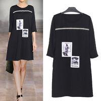 New Women Ladies Casual Tunic Dress 3/4 Sleeve AU Size 14 16 18 20 22 24 #8204