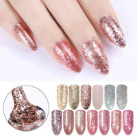 Nail Soak Off UV Gel Polish Holographic Sequins Rose Gold Silver Shining Decor