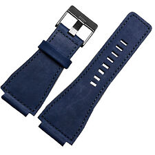 24mm Blue Leather Watch Strap band Compatible for Bell & Ross BR-01,BR-03,BR-02