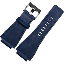 24mm Blue Leather Watch Strap band Compatible with Bell&Ross BR-01,BR-03,BR-02