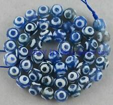 Round Faceted 8mm White&Blue Stripe Eye Fire Agate Loose Beads 14""