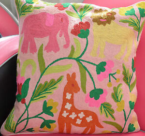 Gorgeous Hand-Embroidered Woollen Cushion Cover - 50 x 50 cm Jungle Animals